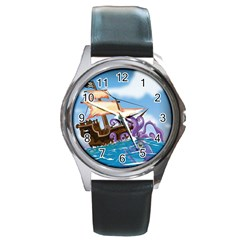 Pirate Ship Attacked By Giant Squid cartoon. Round Leather Watch (Silver Rim)