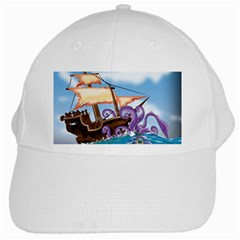 Pirate Ship Attacked By Giant Squid cartoon. White Baseball Cap