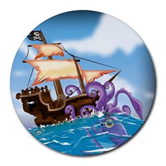 Pirate Ship Attacked By Giant Squid cartoon. 8  Mouse Pad (Round)