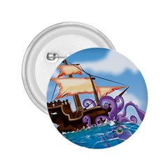 Pirate Ship Attacked By Giant Squid Cartoon  2 25  Button
