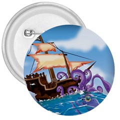 Pirate Ship Attacked By Giant Squid cartoon. 3  Button