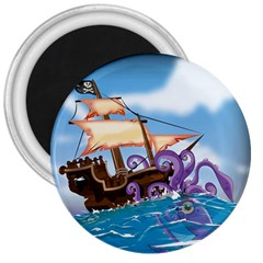 Pirate Ship Attacked By Giant Squid cartoon. 3  Button Magnet