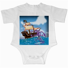 Pirate Ship Attacked By Giant Squid cartoon. Infant Bodysuit