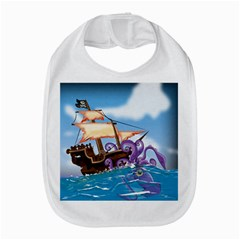 Pirate Ship Attacked By Giant Squid cartoon. Bib
