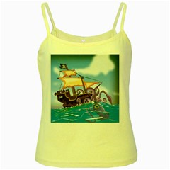 Pirate Ship Attacked By Giant Squid cartoon. Yellow Spaghetti Tank