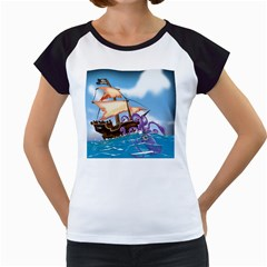 Pirate Ship Attacked By Giant Squid cartoon. Women s Cap Sleeve T-Shirt (White)
