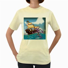 Pirate Ship Attacked By Giant Squid cartoon. Women s T-shirt (Yellow)
