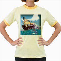 Pirate Ship Attacked By Giant Squid cartoon. Women s Ringer T-shirt (Colored)