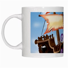 Pirate Ship Attacked By Giant Squid cartoon. White Coffee Mug
