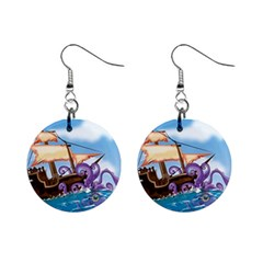 Pirate Ship Attacked By Giant Squid cartoon. Mini Button Earrings
