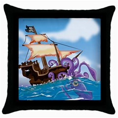 Pirate Ship Attacked By Giant Squid cartoon. Black Throw Pillow Case