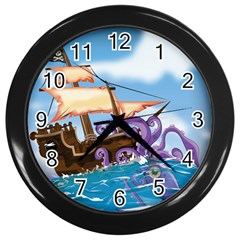 Pirate Ship Attacked By Giant Squid cartoon. Wall Clock (Black)