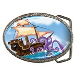 Pirate Ship Attacked By Giant Squid cartoon. Belt Buckle (Oval) Front