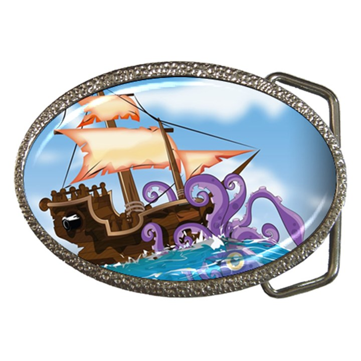 Pirate Ship Attacked By Giant Squid cartoon. Belt Buckle (Oval)