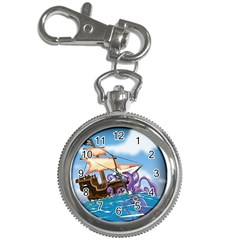 Pirate Ship Attacked By Giant Squid cartoon. Key Chain Watch