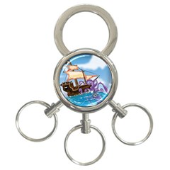 Pirate Ship Attacked By Giant Squid cartoon. 3-Ring Key Chain