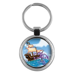 Pirate Ship Attacked By Giant Squid cartoon. Key Chain (Round)