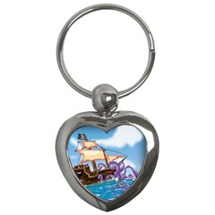 Pirate Ship Attacked By Giant Squid cartoon. Key Chain (Heart)