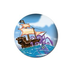 Pirate Ship Attacked By Giant Squid cartoon. Magnet 3  (Round)