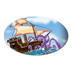 Pirate Ship Attacked By Giant Squid cartoon. Magnet (Oval)