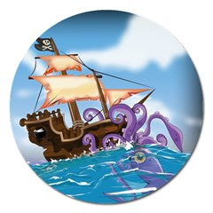 Pirate Ship Attacked By Giant Squid Cartoon  Magnet 5  (round)