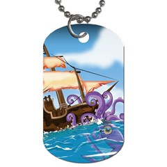 Pirate Ship Attacked By Giant Squid cartoon. Dog Tag (One Sided)