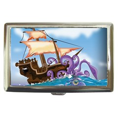 Pirate Ship Attacked By Giant Squid Cartoon  Cigarette Money Case