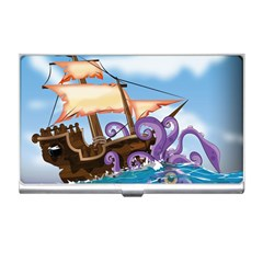 Pirate Ship Attacked By Giant Squid cartoon. Business Card Holder