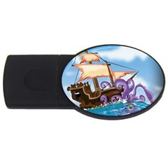 Pirate Ship Attacked By Giant Squid cartoon. 2GB USB Flash Drive (Oval)
