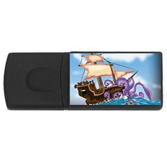 Pirate Ship Attacked By Giant Squid cartoon. 1GB USB Flash Drive (Rectangle)