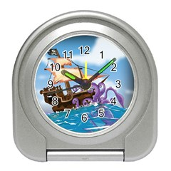 Pirate Ship Attacked By Giant Squid cartoon. Desk Alarm Clock