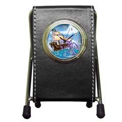 Pirate Ship Attacked By Giant Squid cartoon. Stationery Holder Clock