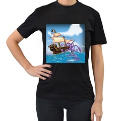 Pirate Ship Attacked By Giant Squid cartoon. Women s Two Sided T-shirt (Black)