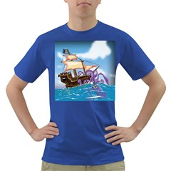 Pirate Ship Attacked By Giant Squid cartoon. Men s T-shirt (Colored)