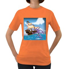 Pirate Ship Attacked By Giant Squid Cartoon  Women s T Shirt (colored)