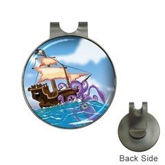 Pirate Ship Attacked By Giant Squid cartoon. Hat Clip with Golf Ball Marker