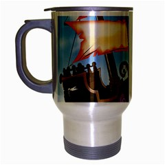 Pirate Ship Attacked By Giant Squid cartoon. Travel Mug (Silver Gray)