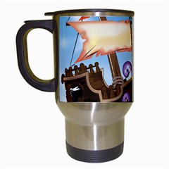 Pirate Ship Attacked By Giant Squid cartoon. Travel Mug (White)