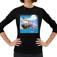 Pirate Ship Attacked By Giant Squid Cartoon  Women s Long Sleeve T Shirt (dark Colored)