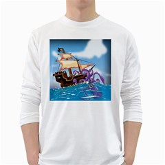 Pirate Ship Attacked By Giant Squid cartoon. Men s Long Sleeve T-shirt (White)