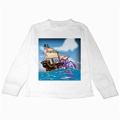 Pirate Ship Attacked By Giant Squid cartoon. Kids Long Sleeve T-Shirt