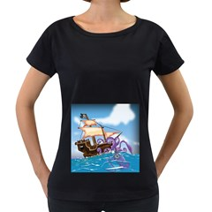 Pirate Ship Attacked By Giant Squid Cartoon  Women s Loose Fit T Shirt (black)
