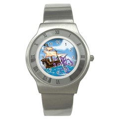 Pirate Ship Attacked By Giant Squid cartoon. Stainless Steel Watch (Slim)