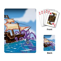 Pirate Ship Attacked By Giant Squid cartoon. Playing Cards Single Design