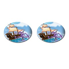 Pirate Ship Attacked By Giant Squid cartoon. Cufflinks (Oval)
