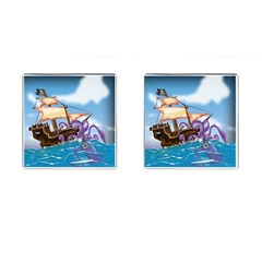 Pirate Ship Attacked By Giant Squid cartoon. Cufflinks (Square)