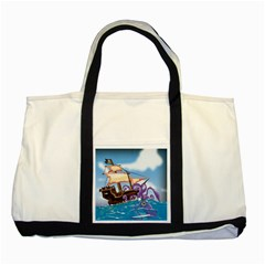 Pirate Ship Attacked By Giant Squid cartoon. Two Toned Tote Bag