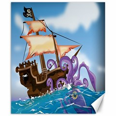 Pirate Ship Attacked By Giant Squid cartoon. Canvas 8  x 10  (Unframed)