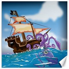 Pirate Ship Attacked By Giant Squid cartoon. Canvas 12  x 12  (Unframed)