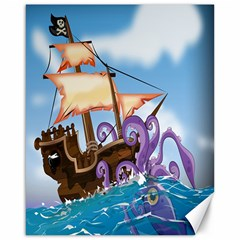 Pirate Ship Attacked By Giant Squid Cartoon  Canvas 16  X 20  (unframed)